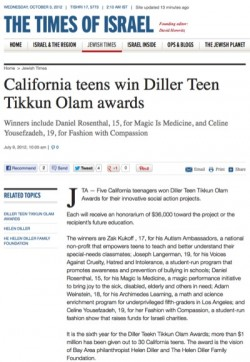 California teens win Diller Teen Tikkun Olam awards